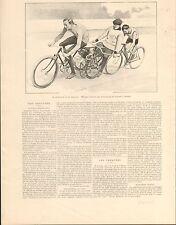 Cycliste Michael  Vélodrome Parc des Princes Paris FRANCE GRAVURE PRINT 1901
