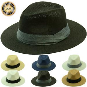 Mens Womens Beach Sun Straw Panama Fedora Summer Flat Hat Big Brim Band Cap LOT