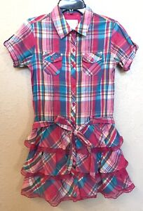 Justice Girls Pink & Turquoise Plaid Spring Dress Sz 10