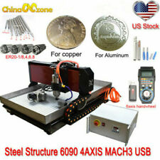 Steel Structure 6090 4axis Cnc Router Engraver Cnc Milling Machine Mach3 2200w