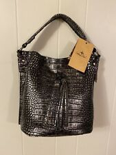 New ListingPatricia Nash Otavia Bucket Bag Croco Leather Metallic Silver Black New $229