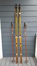 "Vintage Set 76"" Wooden Original Dark Finish Skis Hickory Wood + Bamboo Poles"