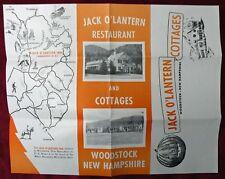 Woodstock New Hampshire Jack O' Lantern Restaurant And Cottages Vintage Brochure