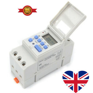 AC 220-240V Digital LCD DIN Programmable Weekly Rail Timer Time Relay Switch UK