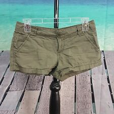 No Boundaries Womens Juniors Mini Shorts Green Khaki Size 1 Cotton FWUW