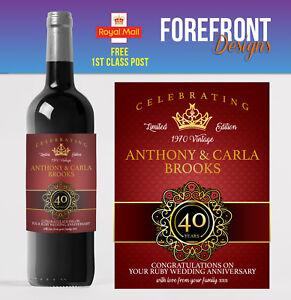 Personalised Wine bottle label 40th RUBY wedding anniversary/wedding gift
