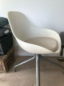 Vintage modern minimal white retro cool 60s swivel bucket chair