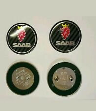 Set of Two SAAB Boot & Bonnet Badge Carbon Fiber 93 9-3 2003-2010 95 900