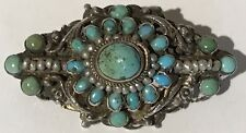 ANTIQUE 1890 AUSTRO HUNGARIAN RENAISSANCE SILVER TURQUOISE SEED PEARL PIN BROOCH