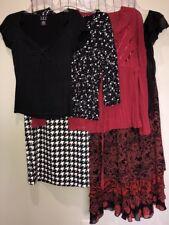 Mixed Lot Dressy Tops & Skirts Black White Red Women's Medium 8-10