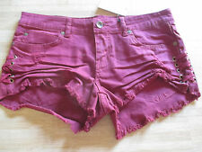 NEW* Billabong SHORTS $50 Ladies 29 Cut Offs Destroyed Lace Up Sangria Wine