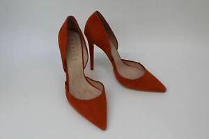 OFFICE Ladies Orange Suede Pointed Toe Stiletto Heel Court Shoes UK5 EU38 NEW