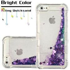 Apple iPhone 5 S SE Bling Hybrid Liquid Glitter Rubber TPU Protective Case Cover