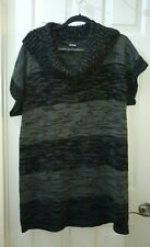 Apt. 9 Woman's Size XL Black n and & Gray Striped Long blouse leggings top tunic