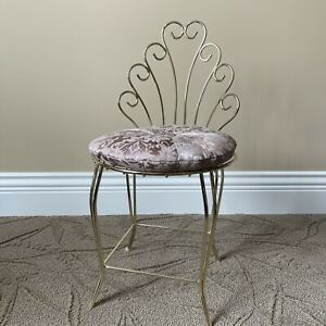 VINTAGE 1950'S GOLD METAL Mid Century VANITY CHAIR WITH Cushion