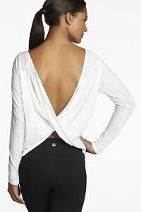 Fabletics Switch Back Tee Open Back Criss Cross Sz S White Yoga Long Sleeve Top