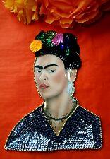 Auténtico mexicano Sequinned Apliques Parche Frida Kahlo Flores Vestido Azul Gris