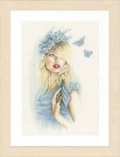 Blue Butterflies - Lanarte Counted Cross Stitch Kit w/30 Ct. Linen