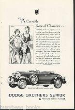 1929 DODGE ROADSTER advertisement, Dodge Brothers Senior Roadster, top down