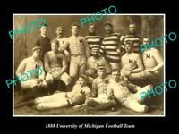 OLD POSTCARD SIZE PHOTO OF THE UNIVERSITY OF MICHIGAN FOOTBALL TEAM c1888