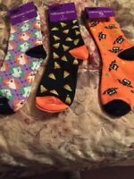 Lot Of Halloween Socks NWT MULTICOLORED BATS GHOSTS CANDY CORN