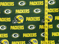 NFL GREEN  BAY PACKERS GREEN 100% COTTON FABRIC  BY THE 1/4 YARD