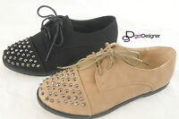NEW Womens Fashion Oxfords Flat Shoes Studded Spike Lace Up Round Toe Athletic
