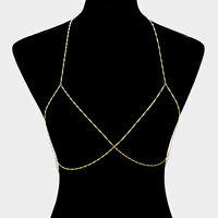 "32"" gold bra body chain bikini swimsuit bathing suit jewelry"