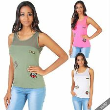 Women's Scoop Neck Hip Length Casual Vest Top, Strappy, Cami Tops & Shirts