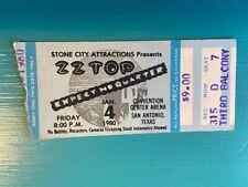 Vintage Zz Top Concert Ticket Stub. Jan. 4, 1980 Convention Center Arena S.A. Tx