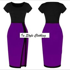 """TRISH"" LADIES GORGEOUS PURPLE & BLACK SIZE 12 COLOUR BLOCK STRETCH PENCIL DRESS"