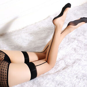 Womens Sheer Stockings Sexy Black Seam Hold Up Ladies Thigh High Socks Stockings