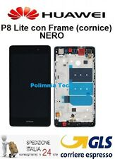 HUAWEI P8 Lite NERO - DISPLAY LCD+TOUCH COMPLETO con FRAME   - GLS 24 h..!