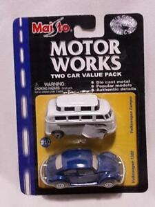 MAISTO VW VOLKSWAGEN CAMPER BUS & BEETLE 1300 MOTOR WORKS 2-CAR PACK COLLECTIBLE