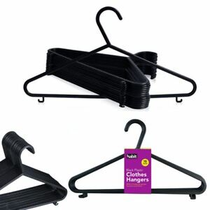 Clothes Hangers Black Adult Plastic Coat Trousers Hangers W Trouser Bar & Lips