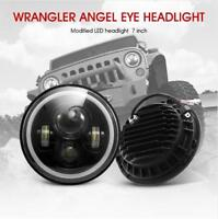 2x 7inch Round LED Headlight Hi/Low Beam Halo Angle Eyes For Jeep Wrangler JK