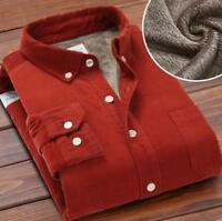 Winter Men's Corduroy Fur Lined Shirts Warm Tops Long Sleeves Cotton Coats Thick