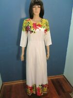 XL white FLORAL PRINT LINED HEM and COLLAR EMPIRE WAIST dress unbranded