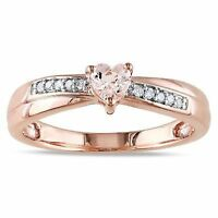 1/3 CT Morganite Diamond Accent Heart Rose Plated Sterling Silver Promise Ring