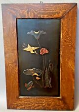 ANTIQUE MEIJI JAPANESE LACQUER on WOOD PANEL Toad, Egret, Lotus