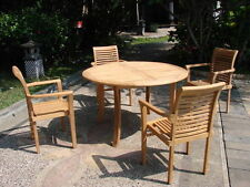 "Sam A-Grade Teak 5 pc Dining 48"" Round Table 4 Stacking Arm Chair Set Patio NW"