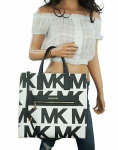 Michael Kors Kenly Large Graphic Logo Tote Satchel Shoulder Bag PVC MK Signature