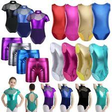 Girl Ballet Leotard Metallic Gymnastics Patent Leather Dancewear Bodysuit Shorts