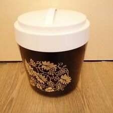 Stewart Vintage Brown White Lid Gold Floral Design Ice Bucket 70s Man Cave Gift