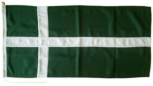 Isle of Barra dark green cross flag traditionally sewn MoD approved woven fabric