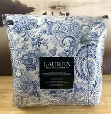 Ralph Lauren Full/ Queen Floral Paisley Blue White Comforter Set 3pc Brand New