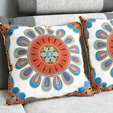 Moroccan Embroidered Cushion Cover. Blue, Red, Turquoise, Green, Yellow/Gold