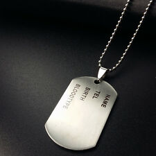 Fashion Army Military Chain Titanium Steel ID Dog Tag Pandent Silver Necklace