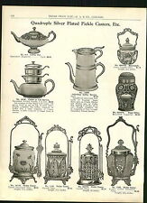 1915 ADVERTISEMENT Silver Pickle Caster Casters Coffee Tea Service Sugar Sifter