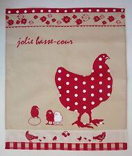 """Torchon de cuisine en tissu """"Poules rouges sur fond beige"""", brodé (towel)"""